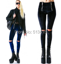 Free shipping punk rocker velvet flannel knee cutout pants legging pants