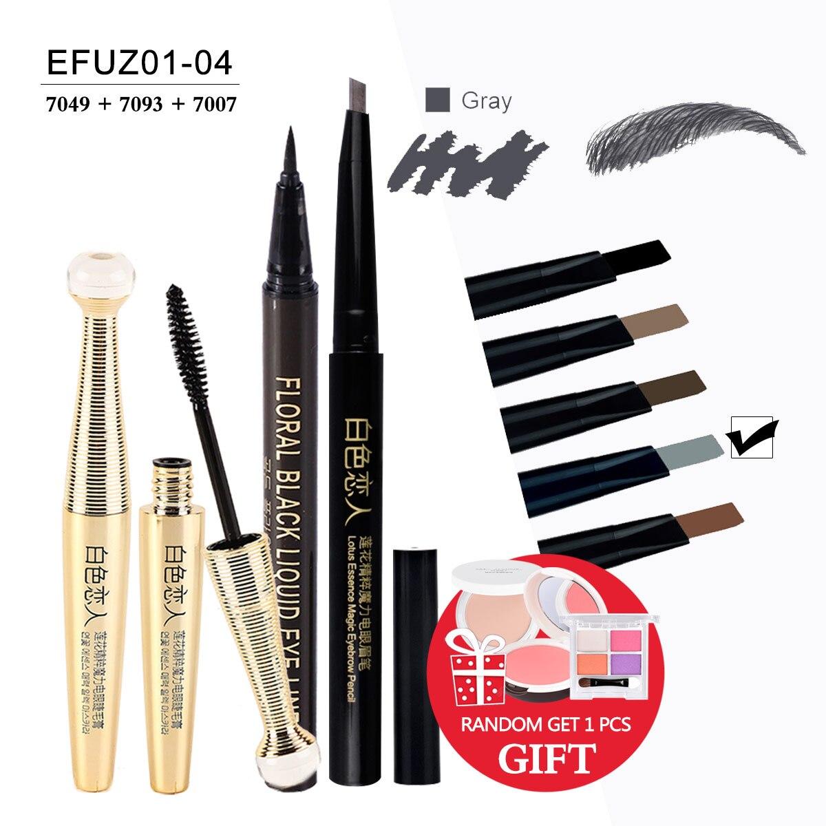 [ Buy 3 Get 1 Gift ] 1Set=4Pcs Waterproof Mascara And Eyeliner And Eyebrow pencil Eye Makeup Set Makeup Brand EFU #EFUZ01