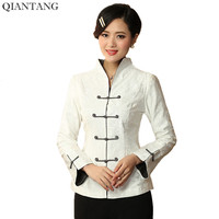 Hot Sale White Chinese Ladies Jacket Lady Long Sleeves Coat Flowers Mujere Chaqueta Size S M