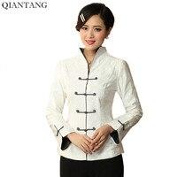 Vente chaude Blanc Chinois Dames Coton Veste Printemps Automne Manches Longues manteau Fleur Mujere Chaqueta Taille S M L XL XXL XXXL Mny01D