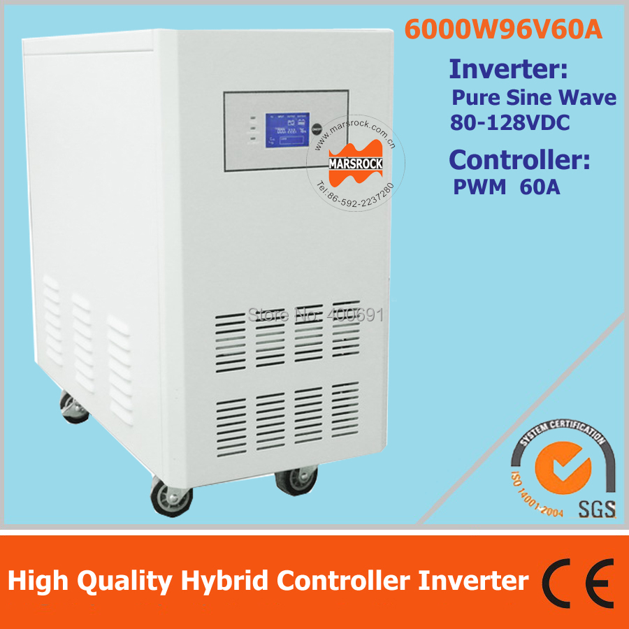 UPS hybrid controller inverter for off grid solar power system, 6000W 96V pure sine wave inverter with 60A PWM controller