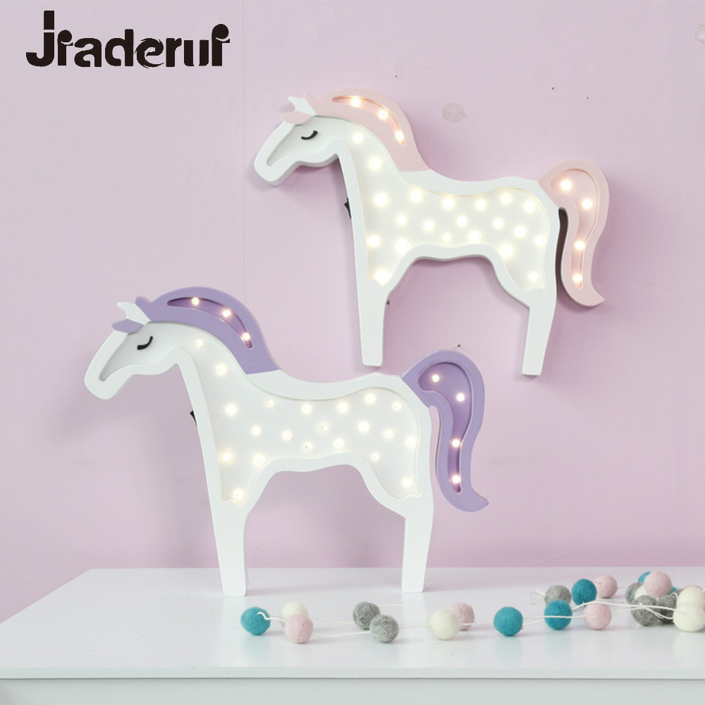 Jiaderui LED Night Light Cute Unicorn Night Lamp Wooden Desk Lamp Kids Bedroom Wall Lamp for Kids Christmas Gift Battery Powered led horse shape wood night light nordic chic night lamp for baby bedroom christmas decor photo props kids gift battery powered