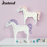 Jiaderui LED Night Light Cute Unicorn Night Lamp Wooden Desk Lamp Kids Bedroom Wall Lamp for Kids Christmas Gift Battery Powered
