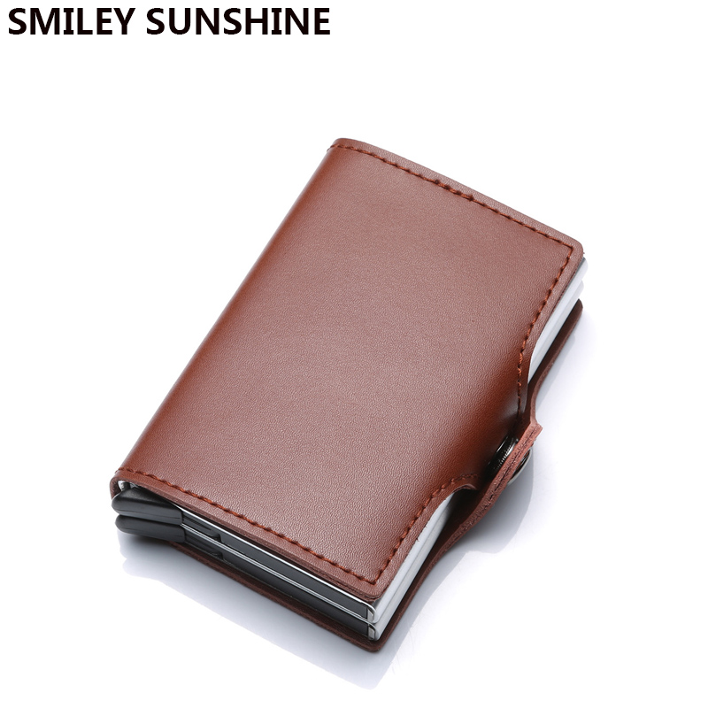 Crazy Horse Genuine Leather Men Women Business id Credit Card Holder Metal RFID Double Aluminium Box Wallet for Credit Card Case rolling stones arnhem