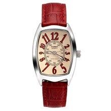 Marca de luxo relógios das mulheres moda casual beleza extravagante relógio CASIMA à prova d' água 50 m pulseira De Couro Vermelho de pulso de quartzo #3001