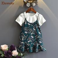 Danmoke 2017 Fashion Spring Boutique Outfits Baby Clothes Girls Sets Cute Floral Dress White T Shirt