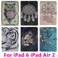 Dreamcatcher Lion Tiger Tablet PC Case for Apple iPad 6 iPad Air 2 Air2  Cover Shell Protective Skin Bag Black and Pink Inside
