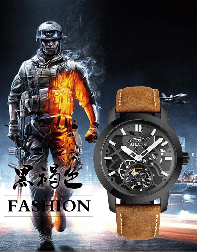 Cool AILANG Men 3D Transparent Designer Skeleton Watches Automatic Self-Wind Fashion Military Wrist watch Analog Relojes NW7174 totem element cool guys relief dragon horse watches ailang men crystals tourbillon wrist watch auto self wind leather reloj w024