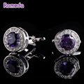 Romeda Shirt Cufflinks For Men Gifts Brand Cuff Buttons Purple Crystal Cufflink High Quality Designer Personalized Jewelry