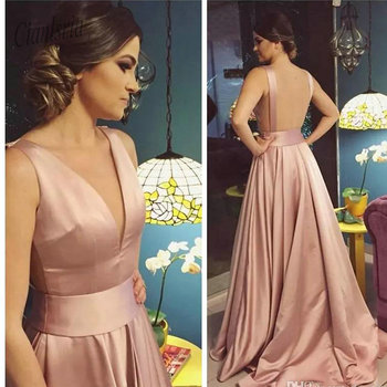 2020 Sexy Deep V-Neck Prom Dresses Rose Gold Backless Court Train Long Special Occasion Party Gowns Simple Evening Dress