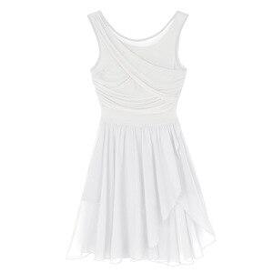 Image 4 - Women Cut Out Asymmetric Ballet Dance Leotard Dress Adult Lyrical Modern Show Dancing Practice Skirt Ballerina High Cut Costume