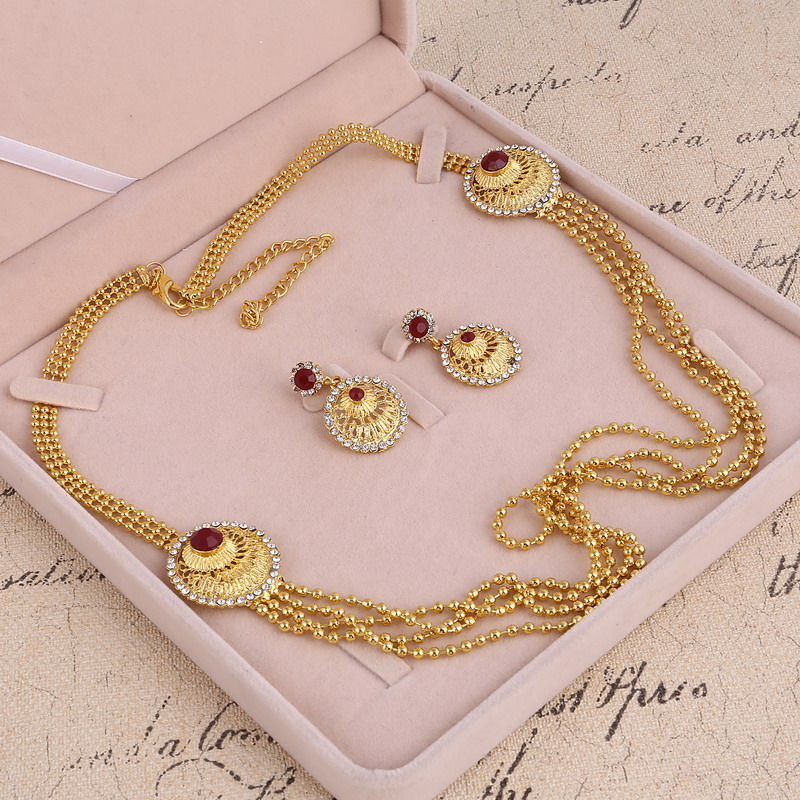 2pcs Set Trendy Indian Bridal Jewelry Sets Round Hollow Pendant Choker Necklace Earrings Sets