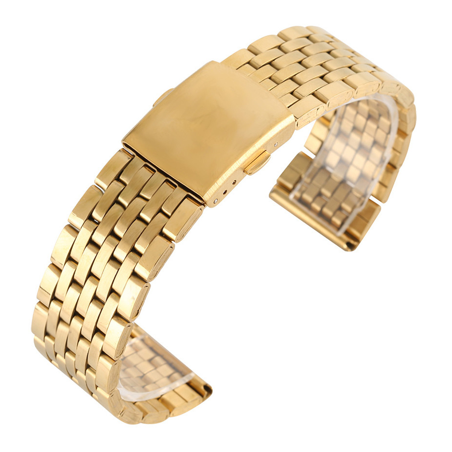 18/20/22mm Gold Color Hollow Stainless Steel Watch Band Folding Clasp with Safety Men Women Watches Strap Replacement Bracelet forsining golden stainless steel sport watch steampunk men watch luminous openwork mechanical watches folding clasp with safety