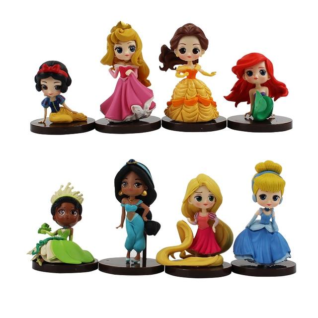 8 unids/lote Q figura de juguete princesa blanca nieve Rapunzel bella Ariel sirena Mulan Cenicienta Bella Durmiente muñecas modelo