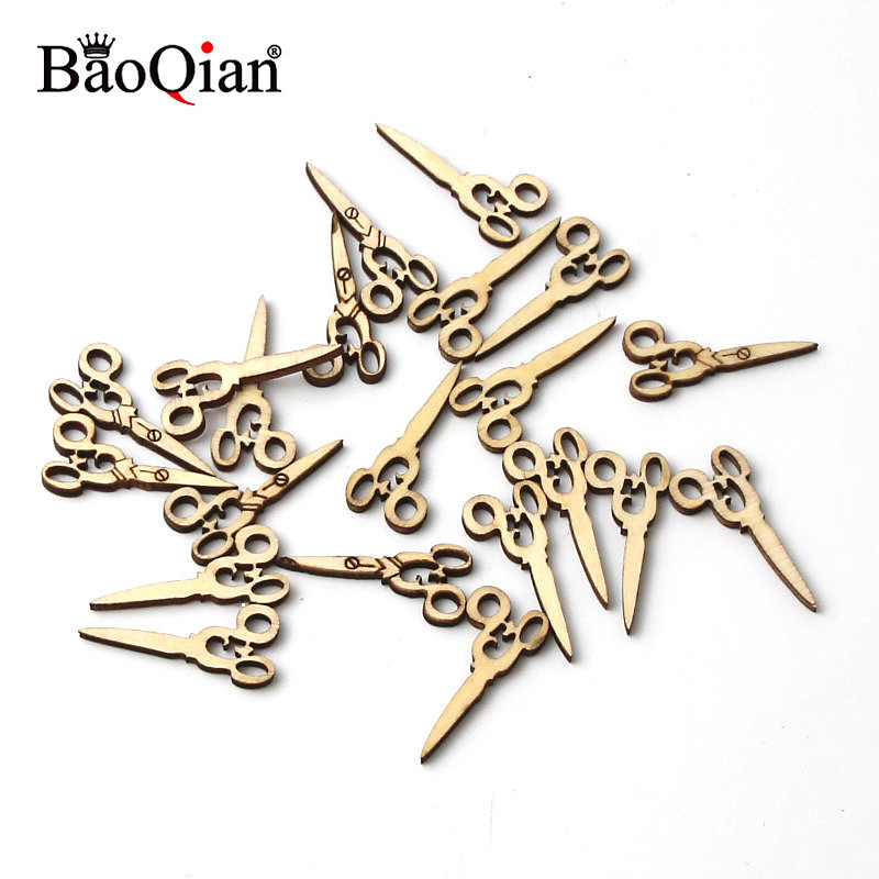 50Pcs Wooden Scissors Scrapbooking Painting Collection Wood Craft Handmade Sewing Accessory Home Decoration DIY 13x30mm