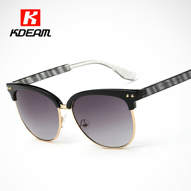 Half-Rim Framework Women Sunglasses For Comfort Stud Sun Glasses With  Stripe and Crystal Gold Sunglass With Full Package 046f172da5c