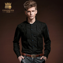 FANZHUAN Featured Brands Men's Lace Shirt 2017 New Men Fashion Patchwork Slim Fit  Shirt Male Long Sleeve Shirt Black Men Dress