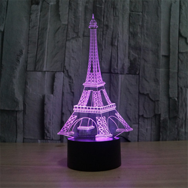 2017 New Eiffel <font><b>Tower</b></font> 3D USB Led Night light Touch Switch Nightlight Home Decor Colorful Atmosphere Bedroom lamp amazing gift