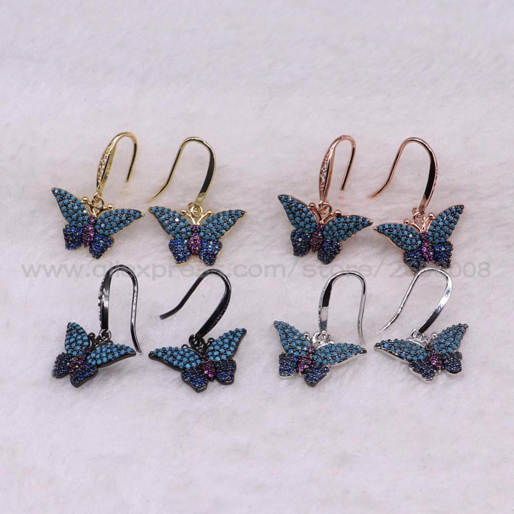 4Pairs High quality Butterfly inset earrings Hook earrings Mix color micro pave Cubic zircon inset  jewelry earrings 3230