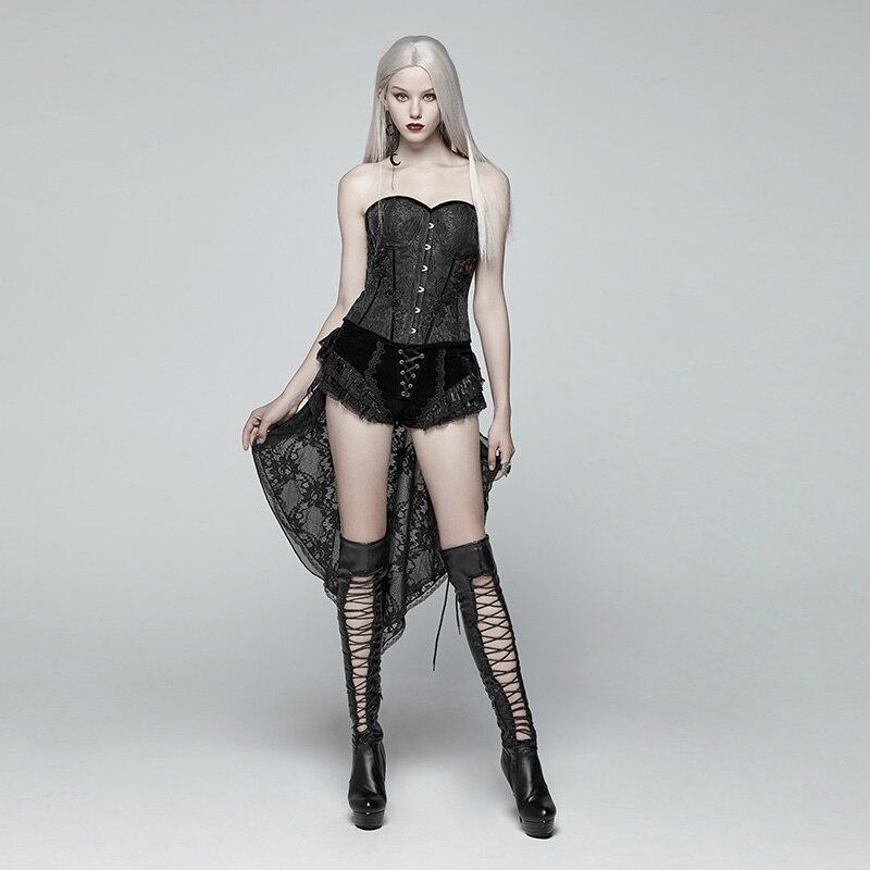 Punk Rave Gothic Fashion Novelty Swallow Tail Lacing Lace Victorian Sexy Palace Women Shorts Skirt Visual Kei WK354 - 5