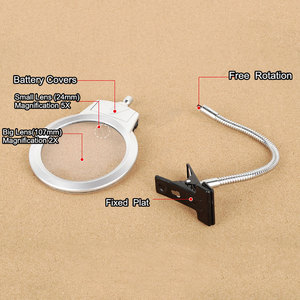 Reading 2.5x 5x Large Lens Magnifying Glass with Clamp Lighted Magnifier Clip-on Table Top Desk LED Lamp