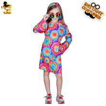 DSPLAY New Style Fashionable Leisure Cosplay High-quality Childrens Girls Hippie Temperament Festival Party Dresses Sets