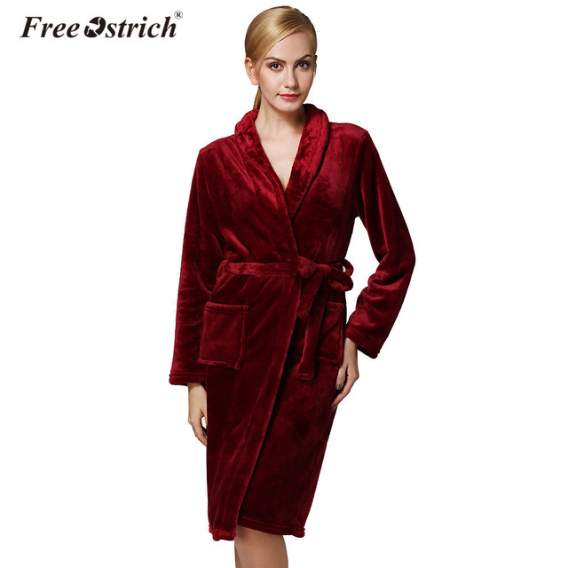 5dd0e29596 Free Ostrich Robe Knee-length Full Sleeve Solid Fleece Nightgown Kimono  Dressing Gown Bathrobe Women Winter K3040