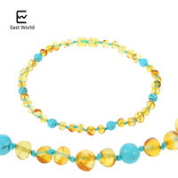 EAST WORLD 16 New Design Amber Bracelet Necklace Baby Teething Natural Amber Beads Women Jewelry Gift
