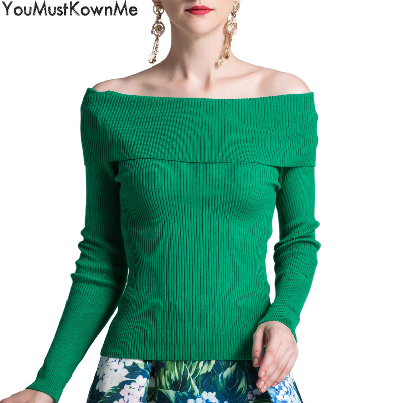 YouMustKnowMe sexy off shoulder elastic solid women pullover sweater autumn winter women christmas party jumper knitted sweater