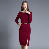 New Arrival Women Pencil Dress Autumn Sexy Split Red Bodycon Dresses Female Slim Plus Size Black