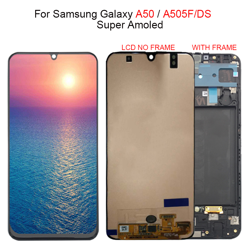 Super Amoled For Samsung galaxy A50 A505F DS A505F A505FD A505A LCD Display Touch Screen Digitizer