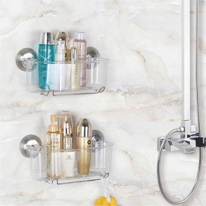 Transparent Holder Storage Box Toothbrush Racket Bathroom Accessaries Makeup Organizer Kitchen Holder Seasoning Rack Suction Cup
