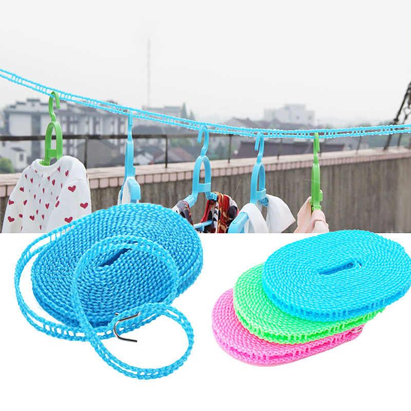 Sprzedaż 1 PC sznurki tkaniny wiszące liny 5 metrów losowy kolor bielizny antypoślizgowe 3 metrów suszarka do ubrań na świeżym powietrzu osłona przed wiatrem