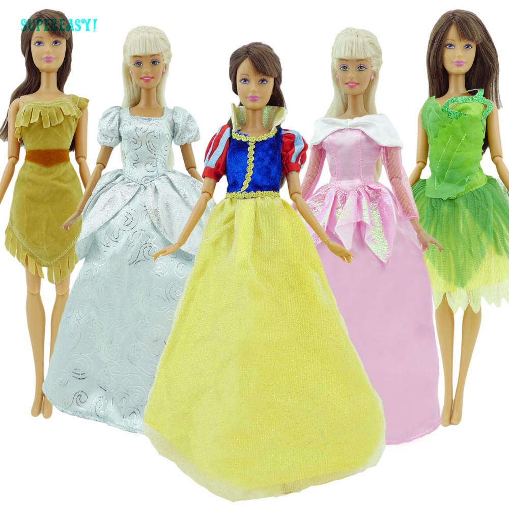 Cinderella Fairytale Fashion Pack Doll Accessories: Fairy Tale Princess Costume Dress Snow White Cinderella