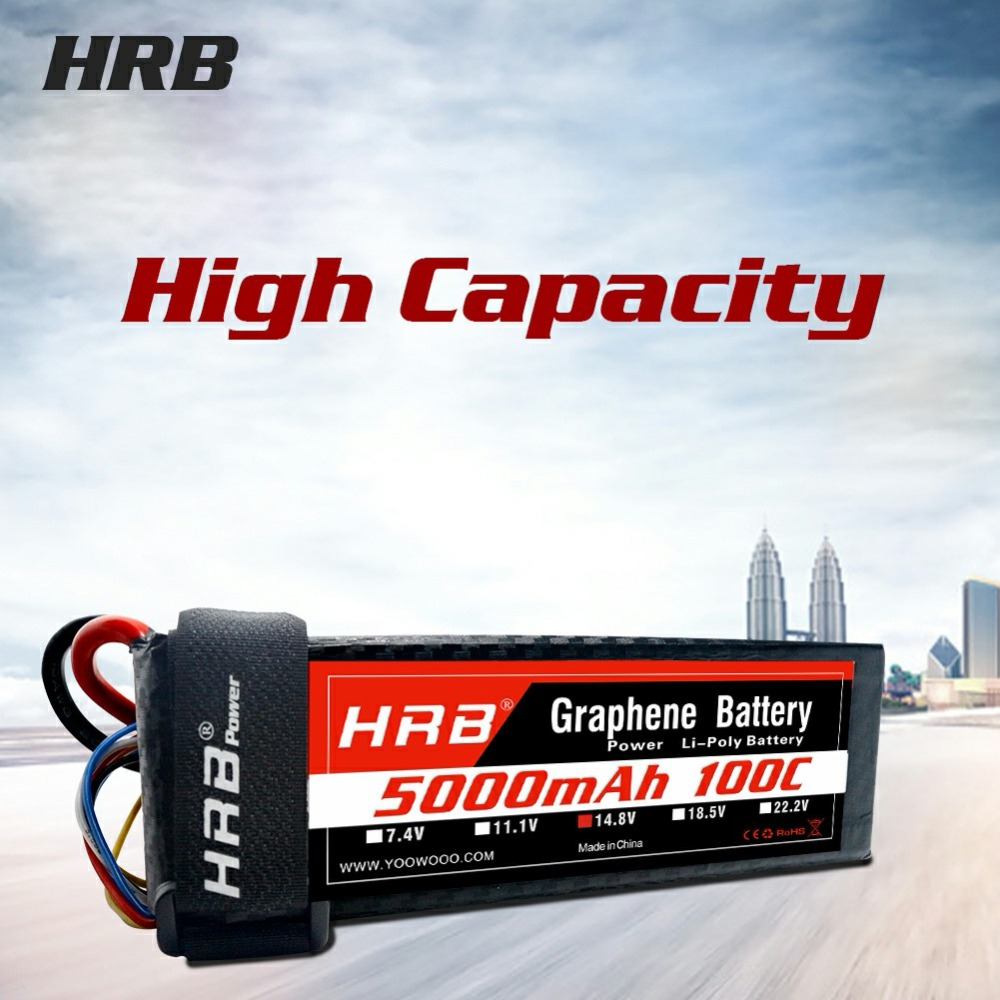 HRB 200C 7.4V 11.1V 14.8V 18.5V 22.2V 5000mAh Graphene Battery 2S 3S 4S 5S 6S LiPo Battery For RC Helicopter Boat Car image