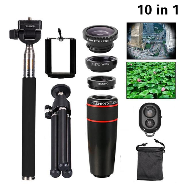 Universal 10in1 Kit de Lentes de Cámara Del Teléfono de 8x Teleobjetivo Lentes de ojo de Pez lente gran angular y macro selfie mini trípode para iphone 7 xiaomi