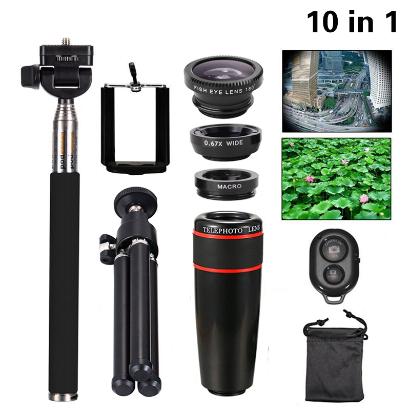 bilder für Universal 10in1 Objektiv-handy-foto-objektiv Kit 8x Tele Lentes Fisheye Weitwinkelmakroobjektiv Selfie Mini Stativ Für iPhone 7 6 6 s