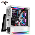 Aigo Tempered Glass Computer Case for Home Office Gaming Desktop PC Computer Chassis Case ATX M-ATX ITX USB Audio Computer Case