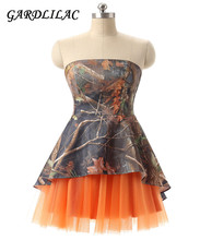 2017 real picture Camo sleeveless Tulle Orange Yellow  Fichsia Blue Ball Gown Short Evening Dress