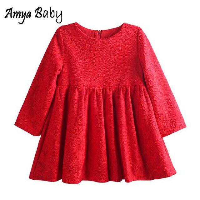 Amya Baby Toddler Christmas Dress Lace Princess Autumn Winter Girls Long Sleeve Dress Kids Clothing Little Girls Party Dresses