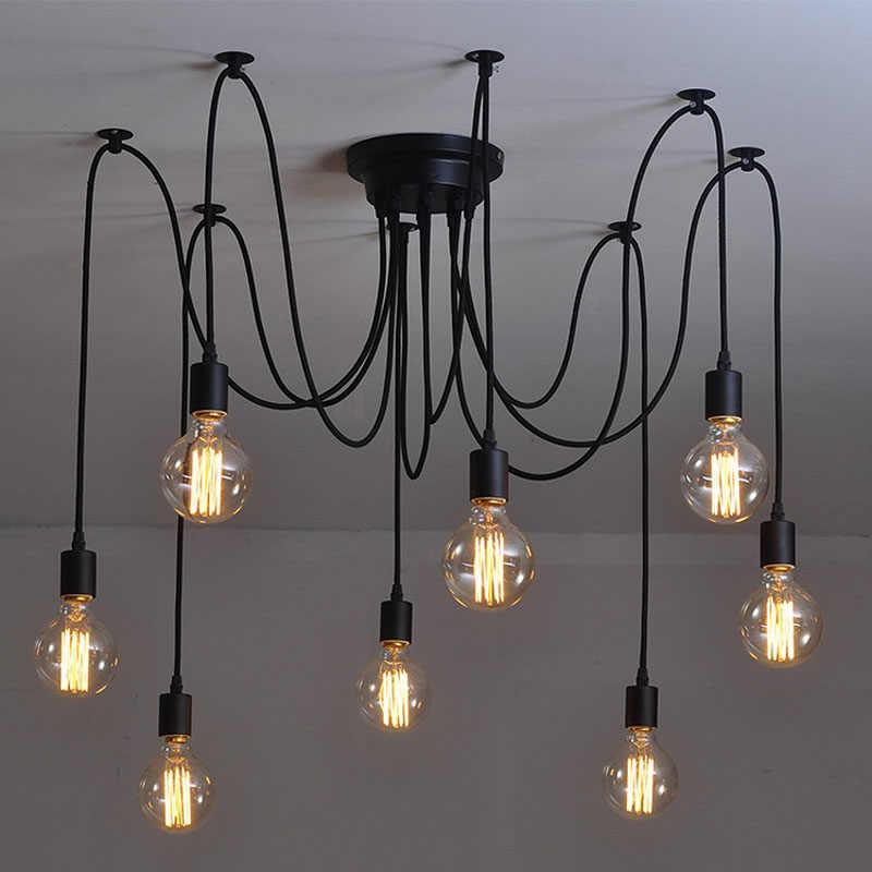 Современное северные ретро эдисон люстра старинные лофт антикварная регулируемая лампа DIY E27 искусство паук кулон светильник домашнего освещения