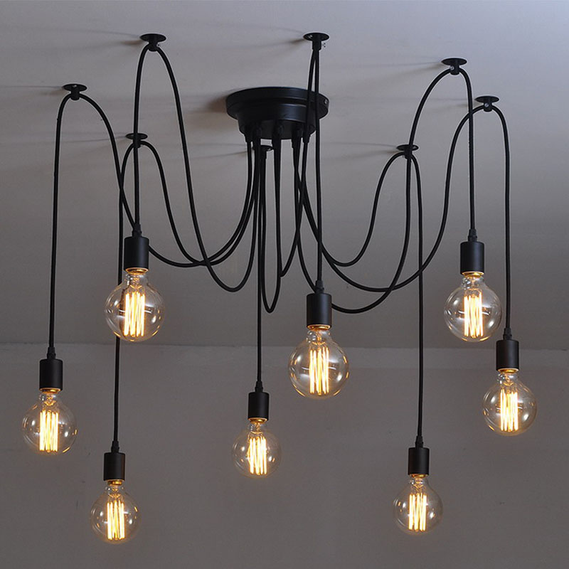 Modern Nordic Retro Edison Bulb Light Chandelier Vintage Loft Antique Adjustable DIY E27 Art Spider Pendant Lamp Home Lighting nordic vintage chandelier lamp pendant lamps e27 e26 edison creative loft art decorative chandelier light chandeliers ceiling