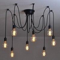Mordern Retro Nordic Edison de la bombilla de la lampara vintage antigua buhardilla ajustable DIY E27 arte araña lámpara colgante iluminación para el hogar