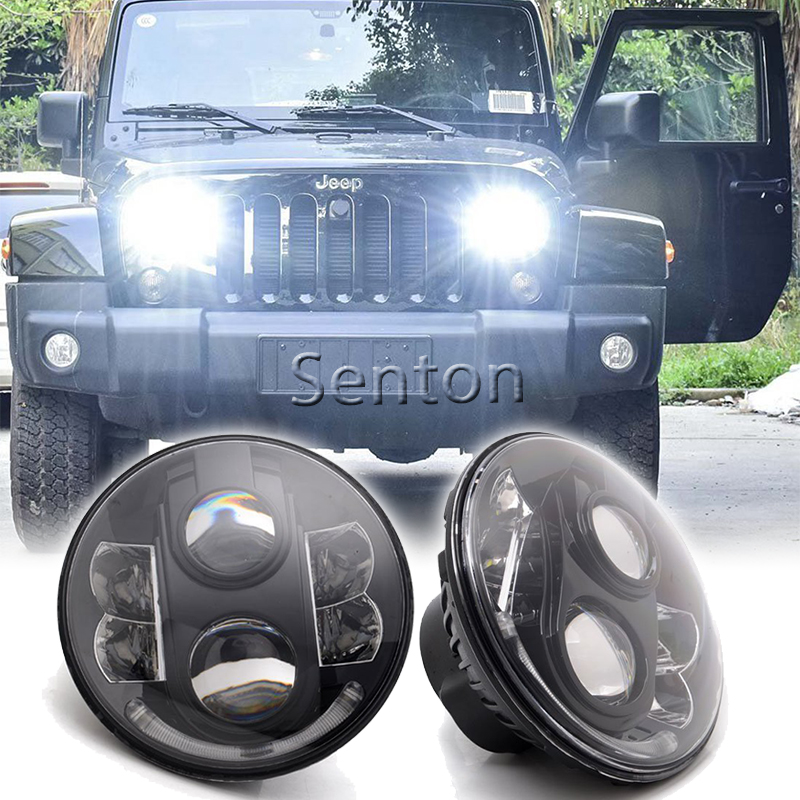 7 Inch LED Headlight Conversion Kits 80W Super Bright LEDs Light For Jeep Wrangler Jk TJ FJ Hummer Trucks Motorcycle Headlamp windshield pillar mount grab handles for jeep wrangler jk and jku unlimited solid mount grab textured steel bar front fits jeep