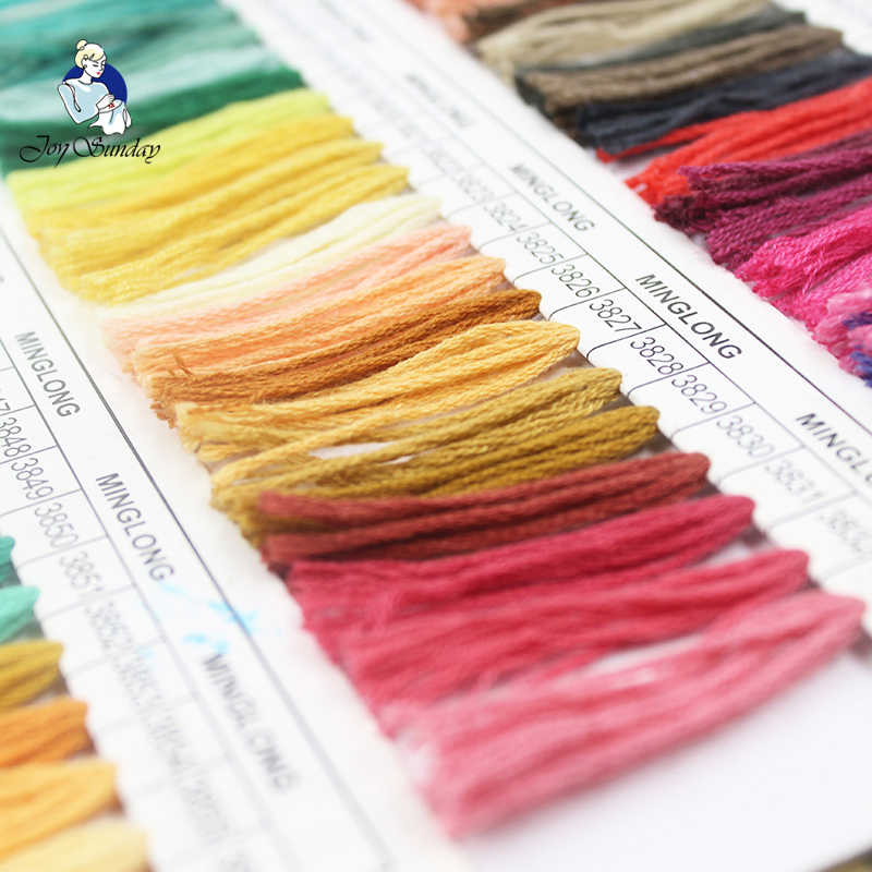 JOY SUNDAY, DMC776-818 Multicolor 10 ชิ้น 1.2 เมตรด้าย Cross Stitch เย็บผ้าฝ้าย Skeins เย็บปักถักร้อยไหมขัดฟันชุด DIY เย็บหัตถกรรม