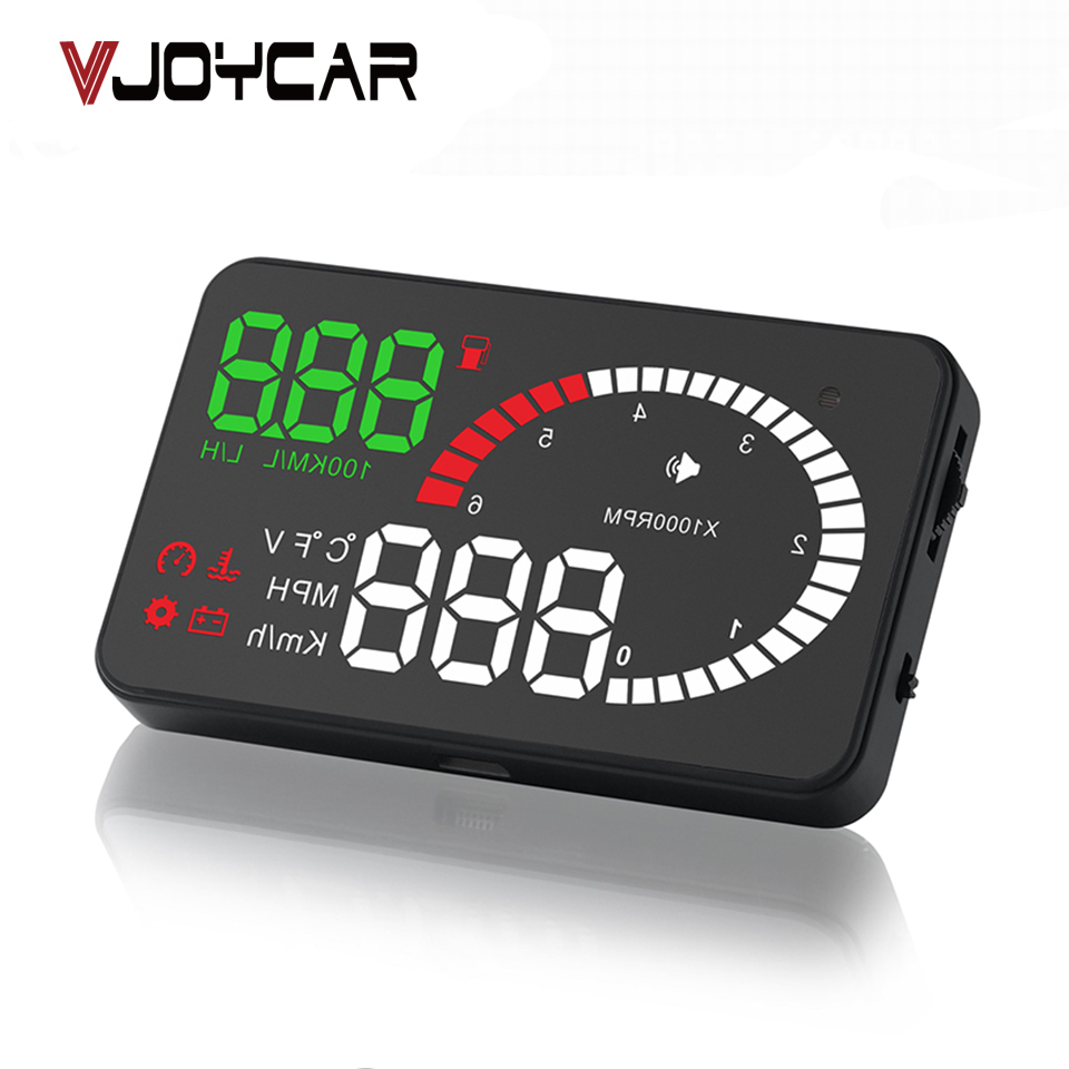 "VJOYCAR X6 3 ""Hud OBD2 Head Up Display OBD-snelheidsmeter OBD2 Speedo over snelheid Voltage Alarm voorruit Projector OBDii-stekker"