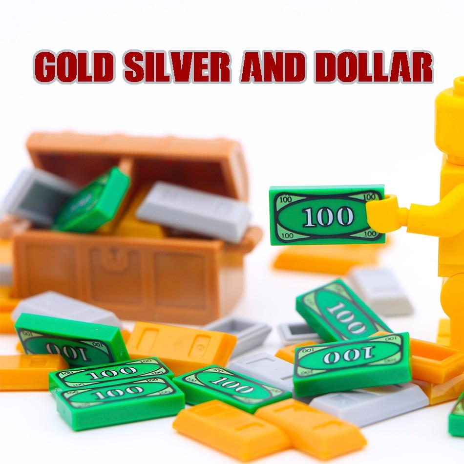 City Accessories Building Blocks 100 Dollar Bill Money Pattern Gold Silver Cash Parts MOC Bricks Toys Compatible Legoed Friends