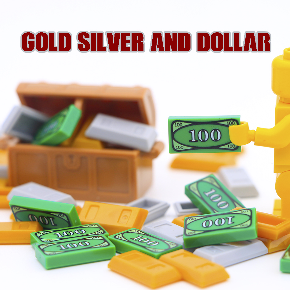 Friends Accessories Building Blocks 100 Dollar Bill Money Pattern Gold Silver Cash Parts MOC Bricks Toys Compatible Legoed City