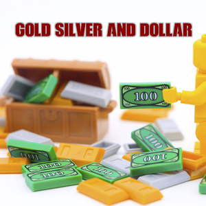 Friends Accessories Building Blocks 100 Dollar Bill Money Pattern Gold Silver Cash Parts MOC Bricks Toys Compatible City Blocks(China)