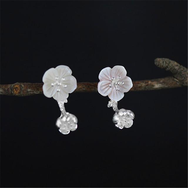 Genuine 925 Sterling Silver Earrings Elaborate Handmade Women Jewelry Dual Use Exclusive Beautiful Begonia Flowers Design Shell